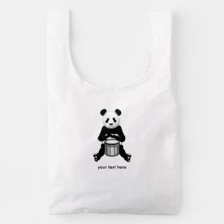 Oso de panda que juega el ejemplo de los tambores bolsa reutilizable
