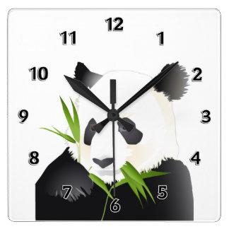 Oso de panda reloj cuadrado