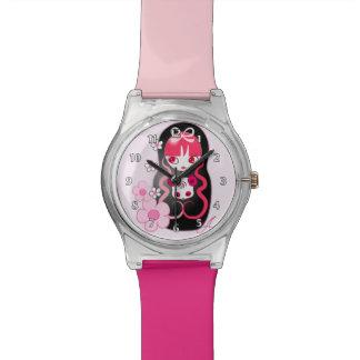 Oso de panda rosado de Kawaii Matryoshka Relojes De Mano