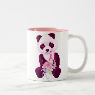 Oso de panda rosado de la cinta taza dos tonos