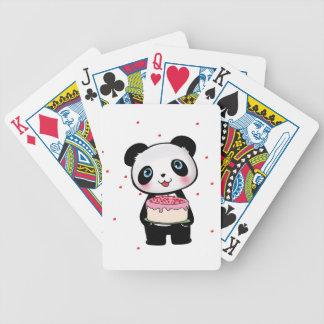 Oso de panda rosado del cumpleaños con el barajas de cartas