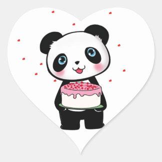 Oso de panda rosado del cumpleaños con el pegatina en forma de corazón