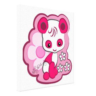 Oso de panda rosado lindo impresiones en lona