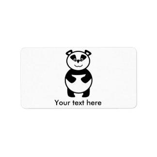 Oso de panda sonriente etiqueta de dirección