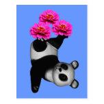 Oso de panda y postal rosada de la flor del Zinnia
