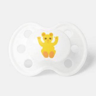 Oso de peluche amarillo lindo chupete de bebé