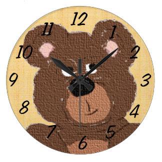 Oso de peluche (amarillo) reloj redondo grande
