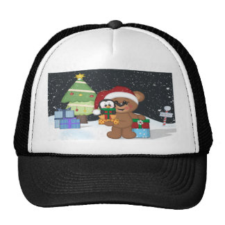 Oso de peluche, árbol de navidad, escena linda de  gorras