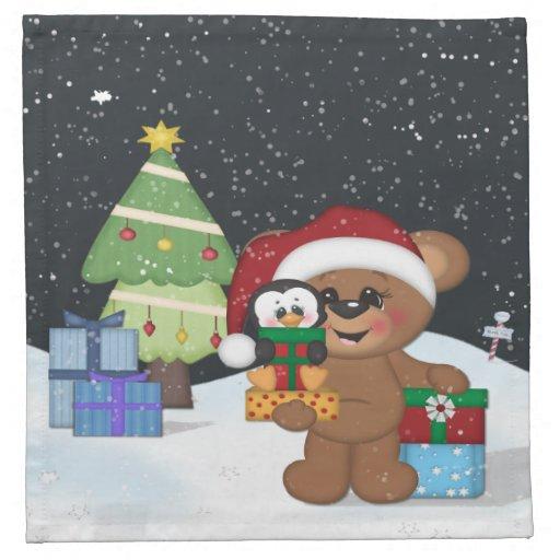 Oso de peluche, árbol de navidad, escena linda de  servilletas