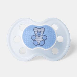 Oso de peluche azul de la tela escocesa chupetes para bebes