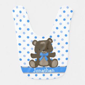 Oso de peluche azul del lunar personalizado baberos para bebé