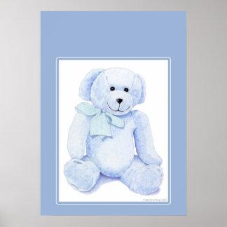 Oso de peluche azul póster