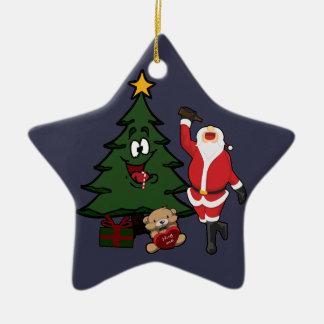 Oso de peluche bebido divertido del árbol de adorno navideño de cerámica en forma de estrella