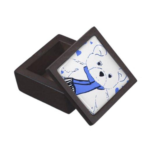 Oso de peluche blanco con los corazones azules bri cajas de joyas de calidad