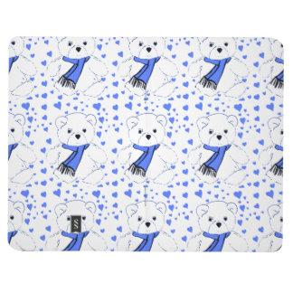Oso de peluche blanco con los corazones azules bri cuaderno grapado