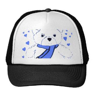 Oso de peluche blanco con los corazones azules bri gorras