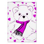Oso de peluche blanco con los corazones magentas tarjeta de felicitación