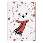 Oso de peluche blanco con los corazones rojos tarjeta de felicitación