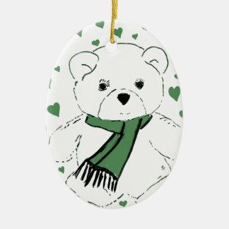 Oso de peluche blanco con los corazones verde adorno navideño ovalado de cerámica
