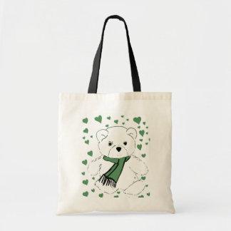 Oso de peluche blanco con los corazones verde oscu