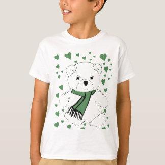 Oso de peluche blanco con los corazones verde playera