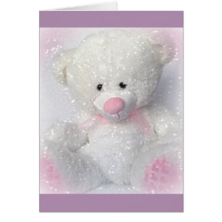Oso de peluche blanco mimoso tarjeta de felicitación
