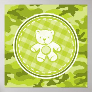 Oso de peluche camo verde claro camuflaje poster