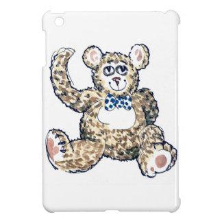Oso de peluche con el mini caso del iPad manchado