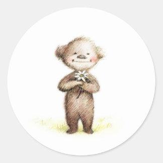 oso de peluche con la margarita pegatina redonda