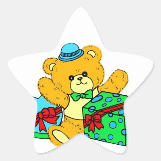 Oso de peluche con los presentes, regalos para los pegatina en forma de estrella
