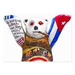 Oso de peluche cubano con el cigarro, parte poster tarjetas de visita