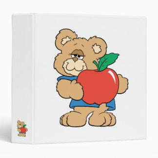 "Oso de peluche de Apple de los días escolares Carpeta 1 1/2"""