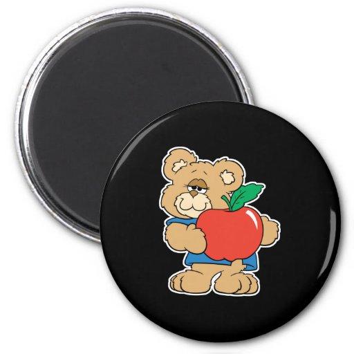 Oso de peluche de Apple de los días escolares Imán Redondo 5 Cm