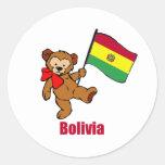 Oso de peluche de Bolivia Pegatina Redonda
