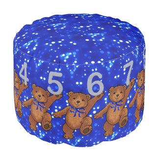 Oso de peluche de Brown con números y luces azules Puf Redondo