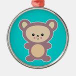 oso de peluche de color de malva del kawaii ornaments para arbol de navidad
