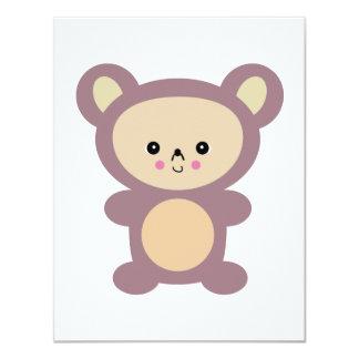 oso de peluche de color de malva del kawaii invitación 10,8 x 13,9 cm