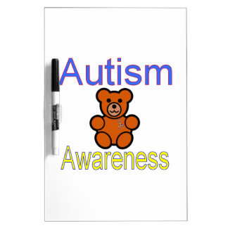 oso de peluche de la conciencia del autismo con la pizarras blancas