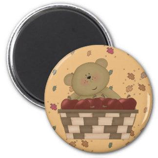oso de peluche de la cosecha de la manzana imán redondo 5 cm