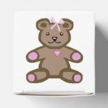 Oso de peluche de la niña con el arco rosado paquete de regalo para fiestas