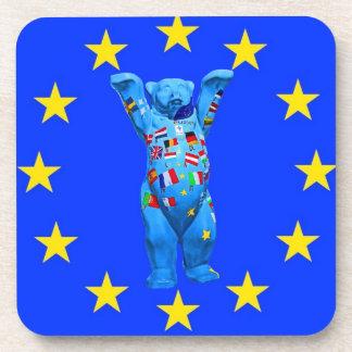 Oso de peluche de la unión europea (centavo) posavasos de bebida