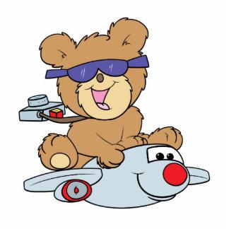 oso de peluche de las vacaciones en el avión fotoescultura vertical