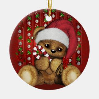 Oso de peluche de Santa con el bastón de caramelo Adorno Redondo De Cerámica