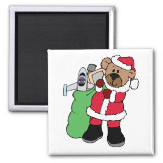 Oso de peluche de Santa con el saco del juguete Imán Cuadrado