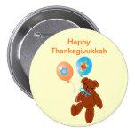Oso de peluche de Thanksgivukkah con el botón de l Pin