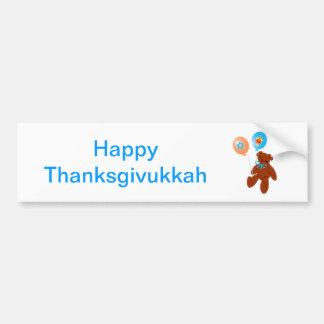 Oso de peluche de Thanksgivukkah con los globos Pegatina Para Auto