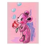 Oso de peluche del amor con el tulipán tarjeta postal