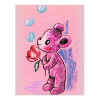Oso de peluche del amor con el tulipán tarjetas postales