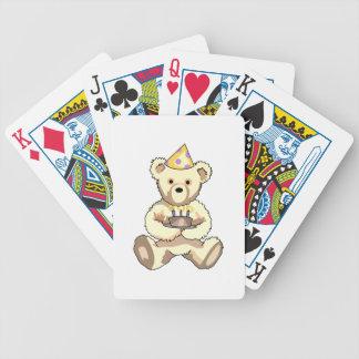 Oso de peluche del cumpleaños barajas de cartas