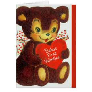 Oso de peluche del el día de San Valentín del bebé Tarjeta De Felicitación
